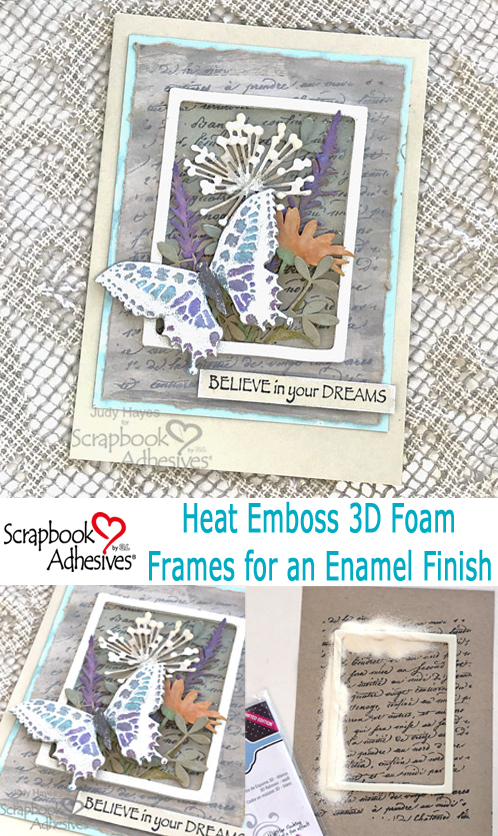 Framed Butterfly and Flowers Card Tutorial by Judy Hayes for Scrapbook Adhesives by 3L Pinterest