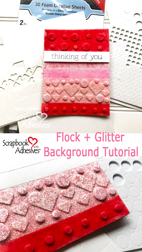 Flock and Glitter Background Tutorial by Teri Anderson for Scrapbook Adhesives by 3L Pinterest