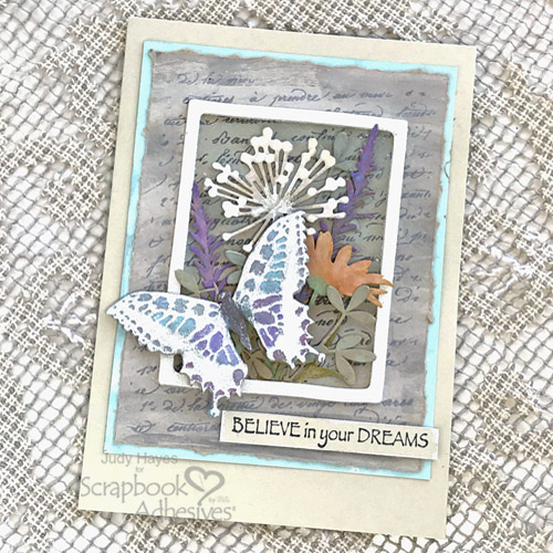 Framed Butterfly and Flowers Card Tutorial by Judy Hayes for Scrapbook Adhesives by 3L