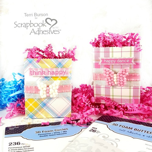 Butterfly Spring Mini Gift Bags by Terri Burson for Scrapbook Adhesives by 3L