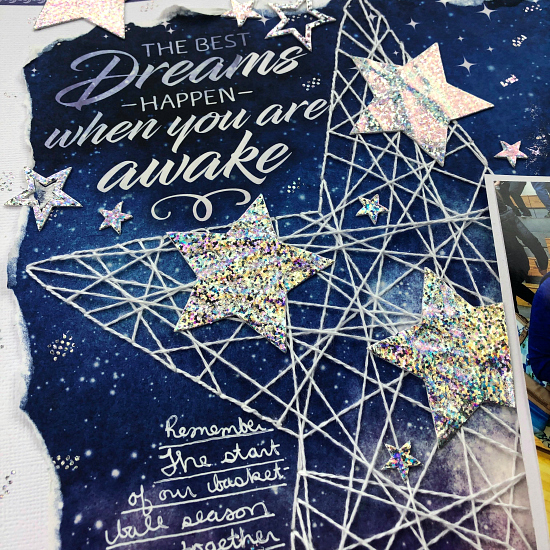 Twinkle Stars on a Galaxy Layout by Christine Meyer for Scrapbook Adhesives by 3L