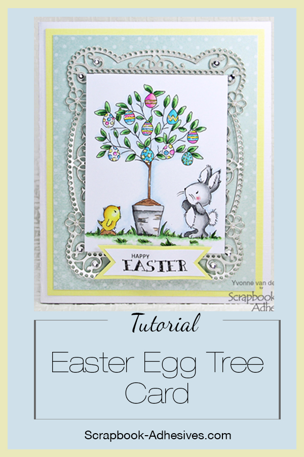 Easter Egg Tree Card with E-Z Runner Petite by Yvonne van de Grijp for Scrapbook Adhesives by 3L Pinterest