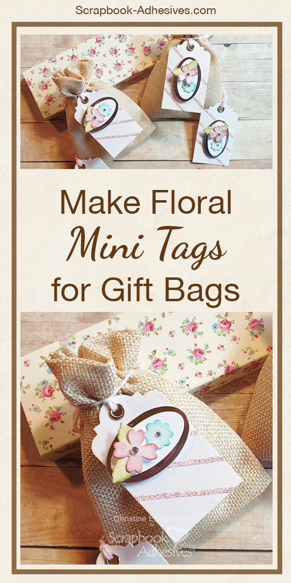 Floral Mini Tags Tutorial by Christine Emberson for Scrapbook Adhesives by 3L Pinterest