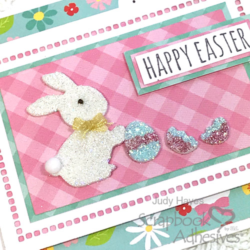 Glittered Bunny Easter Card Tutorial by Judy Hayes for Scrapbook Adhesives by 3L