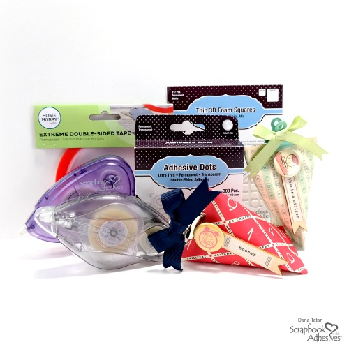 DIY Teacher Gift Boxes from Paper Rolls by Dana Tatar for Scrapbook Adhesives by 3L