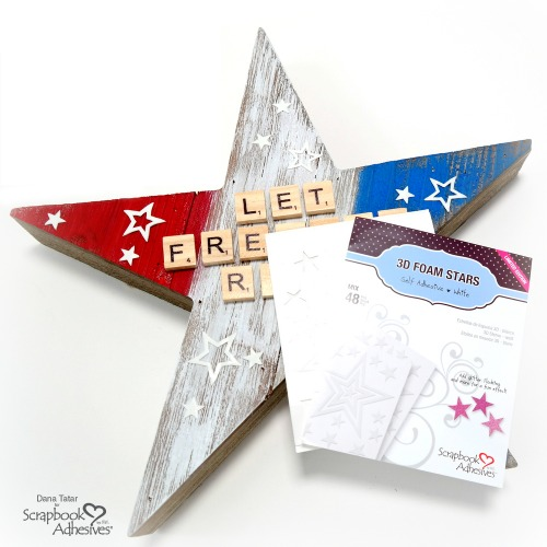 Patriotic Wood Star Tutorial by Dana Tatar for Scrapbook Adhesives by 3L