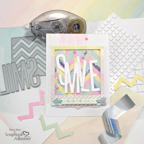 SMILE Foiled Paper Pieced Card by Dana Tatar for Scrapbook Adhesives by 3L