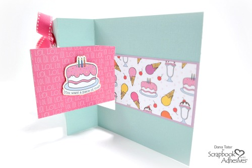 Punny Happy Birthday Flip Card by Dana Tatar for Scrapbook Adhesives by 3L - Inside of Card