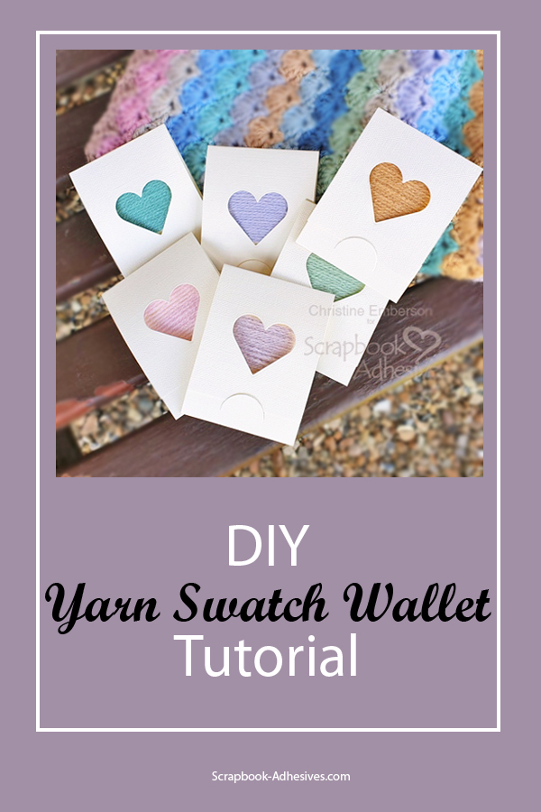 DIY Yarn Swatch Wallets by Christine Emberson for Scrapbook Adhesives by 3L Pinterest
