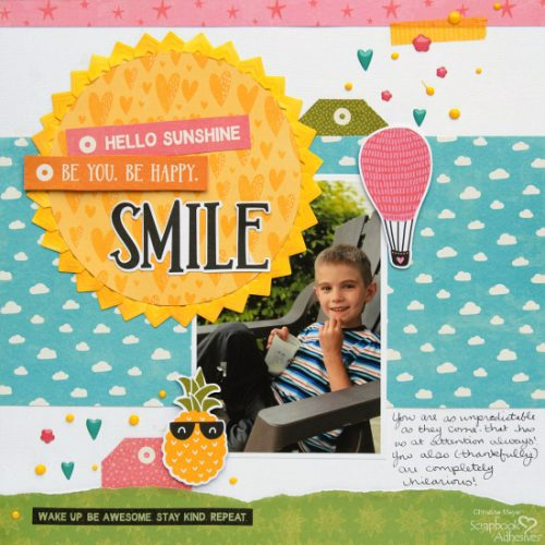 Creative Photo Corners as Sunshine Layout by Christine Meyer for Scrapbook Adhesives by 3L