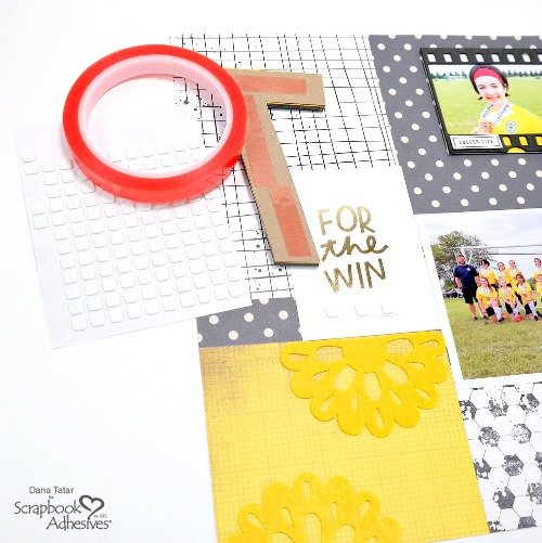 Soccer Themed Sports Scrapbook Layout with Jersey Number Shaker Embellishment by Dana Tatar for Scrapbook Adhesives by 3L