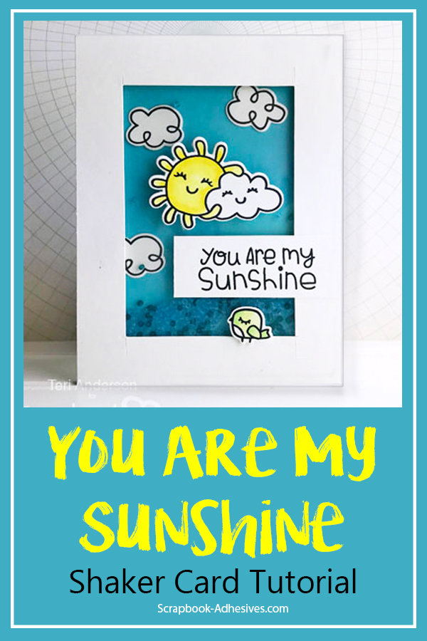Sunshine Shaker Card by Teri Anderson for Scrapbook Adhesives by 3L Pinterest
