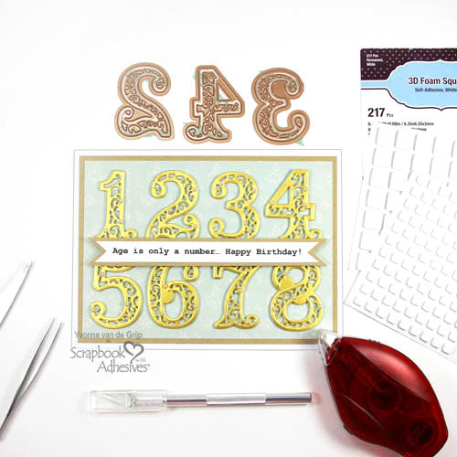 How to Make a Number Birthday Card by Yvonne van de Grijp for Scrapbook Adhesives by 3L