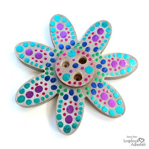 Foiled Adhesive Dot Mandala Flower Bud Vase Centerpiece