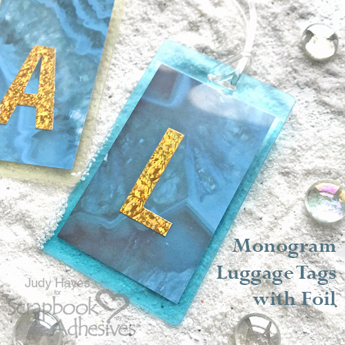Making Monogram Luggage Tags L with Foil by Judy Hayes for Scrapbook Adhesives by 3L
