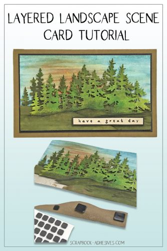 Layered Landscape Scene Card Tutorial by Judy Hayes for Scrapbook Adhesives by 3L Pinterest Image