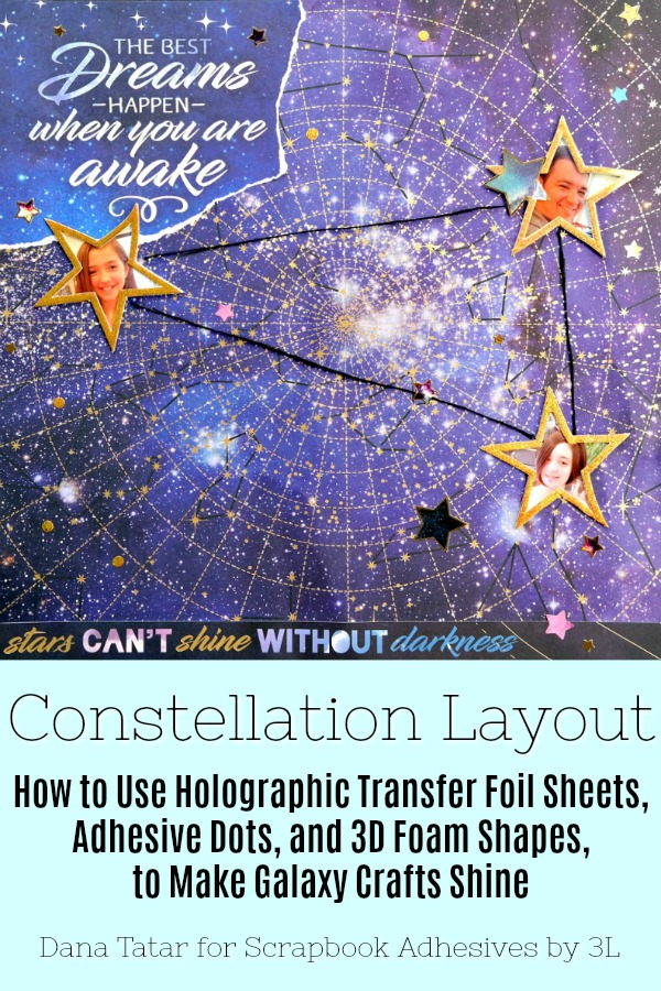 Constellation Scrapbook Layout with Holographic Foiled Star Photo Frames and Twinkle Adhesive Dots Galaxies by Dana Tatar for Scrapbook Adhesives by 3L