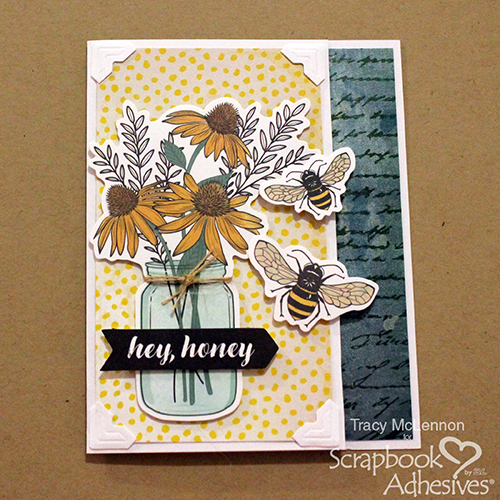 Hey Honey Quick & Easy card tutorial by Tracy McClennon for Scrapbook Adhesives by 3L