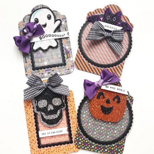 Tags for Halloween Popcorn Bucket Pocket Mail Tutorial by Shellye McDaniel for Scrapbook Adhesives by 3L