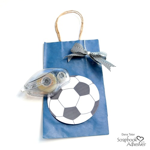 How to Embellish a Dollar Store Bag with a Clip Art Soccer Ball -Personalize Soccer Party Favor Bags Tutorial by Dana Tatar for Scrapbook Adhesives by 3L