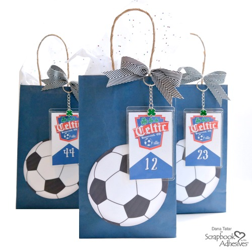 DIY Soccer Ball Goody Bag with Self-Laminating Player Card Key Chain Charms -Personalize Soccer Party Favor Bags Tutorial by Dana Tatar for Scrapbook Adhesives by 3L
