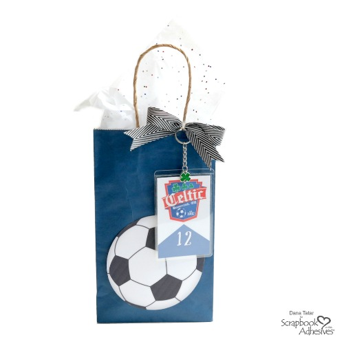 DIY Soccer Ball Goody Bag with Self-Laminating Player Card Key Chain Charm -Personalize Soccer Party Favor Bags Tutorial by Dana Tatar for Scrapbook Adhesives by 3L