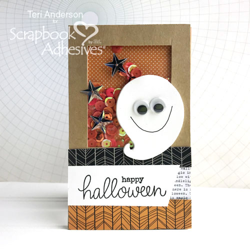 Happy Halloween Ghost shaker card tutorial by Teri Anderson for Scrapbook Adhesives by 3L