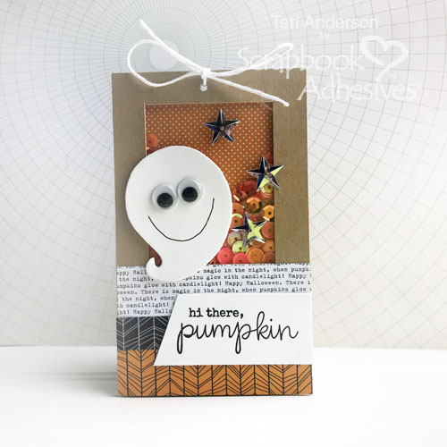 Hi There Pumpkin shaker tag tutorial by Teri Anderson for Scrapbook Adhesives by 3L