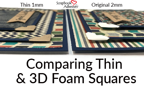 Comparing Thin 3D Foam Squares and 3D Foam Squares + Card Mailing Tip by Beth Pingry for Scrapbook Adhesives by 3L