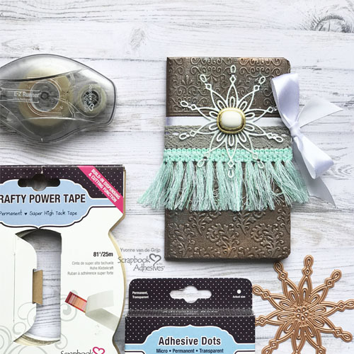 DIY Textured Bohemian Notebook Cover by Yvonne van de Grijp for Scrapbook Adhesives by 3L