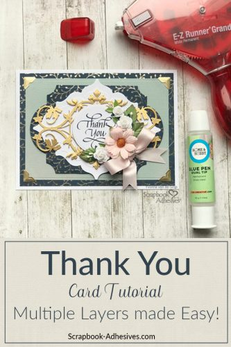 Create a Multi-Layered Thank You Card by Yvonne van de Grijp for Scrapbook Adhesives by 3L Pinterest