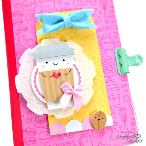 How to Build a Layered Coffee Cup Embellishment for a Traveler's Notebook Insert Cover