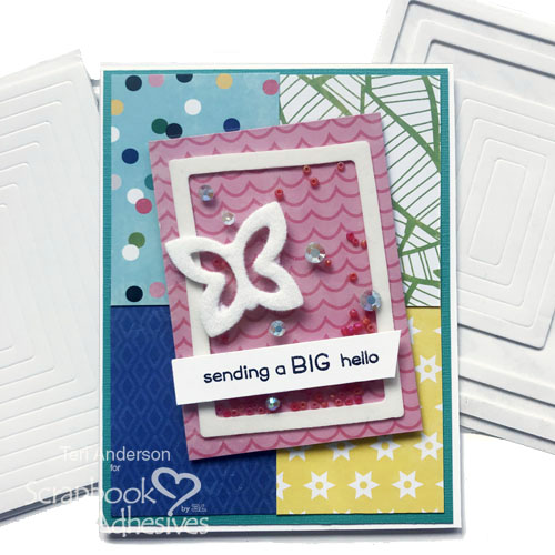 Big Hello Easy Shaker Card Tutorial by Teri Anderson for Scrapbook Adhesives by 3L