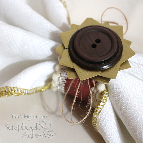 Autumnal Sunflower Napkin Ring Tutorial by Tracy McLennon for Scrapbook Adhesives by 3L