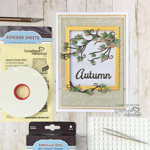 Autumn Card with Dimensional Ivy Tutorial by Yvonne van de Grijp for Scrapbook Adhesives by 3L