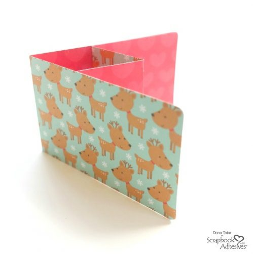 DIY Christmas Gift Card Holder with Reindeer and Heart Patterned Papers