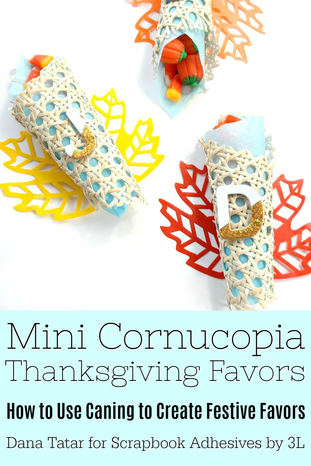 Mini Cornucopia Thanksgiving Favors with Foiled Letters and Colorful Leaves