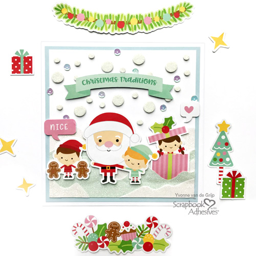 Snowy Christmas Card with 3D Foam Circles by Yvonne van de Grijp for Scrapbook Adhesives by 3L