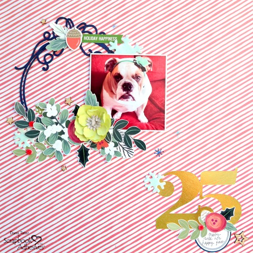 Festive Christmas Scrapbook Layout with Dimensional Die-Cut Embellishments and Pet Photo by Dana Tatar for Scrapbook Adhesives by 3L