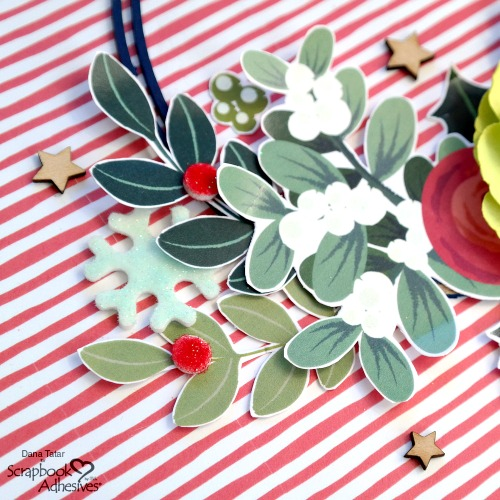 Holly Berry Embellishment Cluster with Flocked 3D Foam Shapes