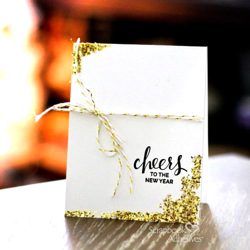 Glittered New Years Card Tutorial by Latisha Yoast for Scrapbook Adhesives by 3L