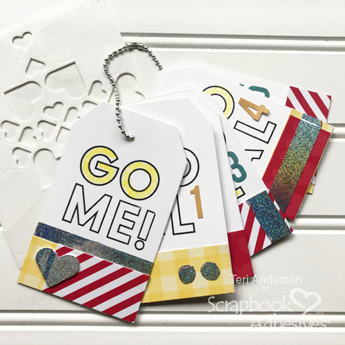 New Year's Goals Mini Tag Book Tutorial by Teri Anderson for Scrapbook Adhesives by 3L