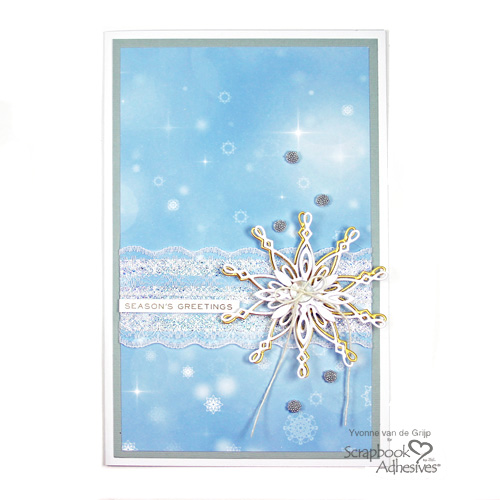 Season's Greetings on a Laced Snowflake card, tutorial by Yvonne van de Grijp for Scrapbook Adhesives by 3L