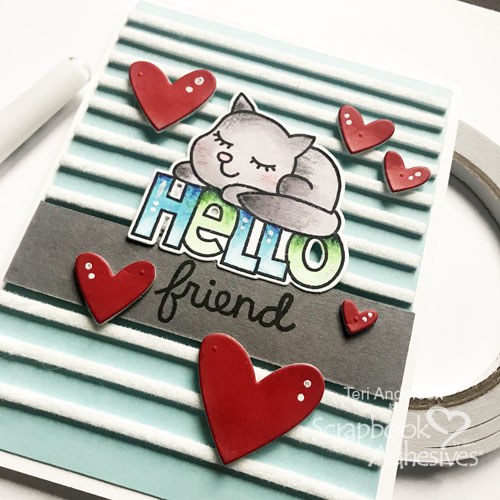Hello Friend Striped Background Technique by Teri Anderson for Scrapbook Adhesives by 3L