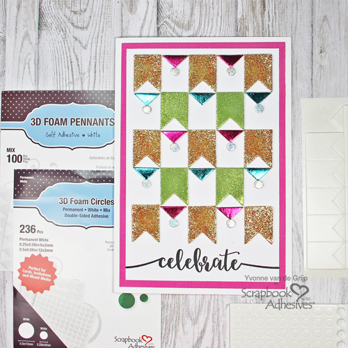 Celebrate Card with 3D Foam Pennants Card by Yvonne van de Grijp for Scrapbook Adhesives by 3L