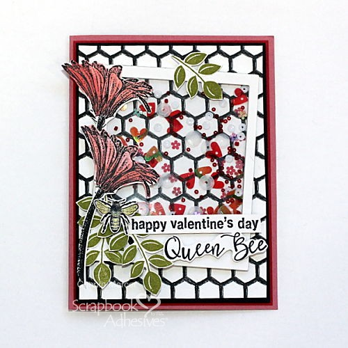 Queen Bee Shaker Card Tutorial by Connie Mercer for Scrapbook Adhesives by 3L