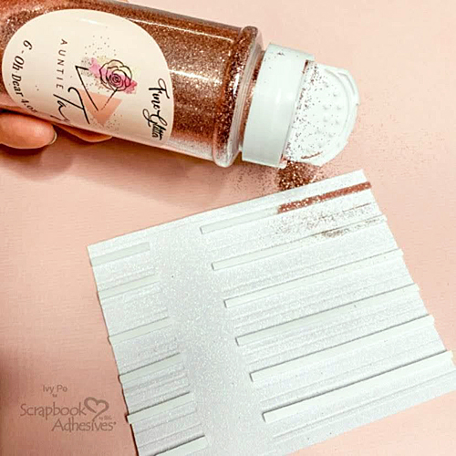 Glitter Striped Hello Card by Ivy Pe for Scrapbook Adhesives by 3L