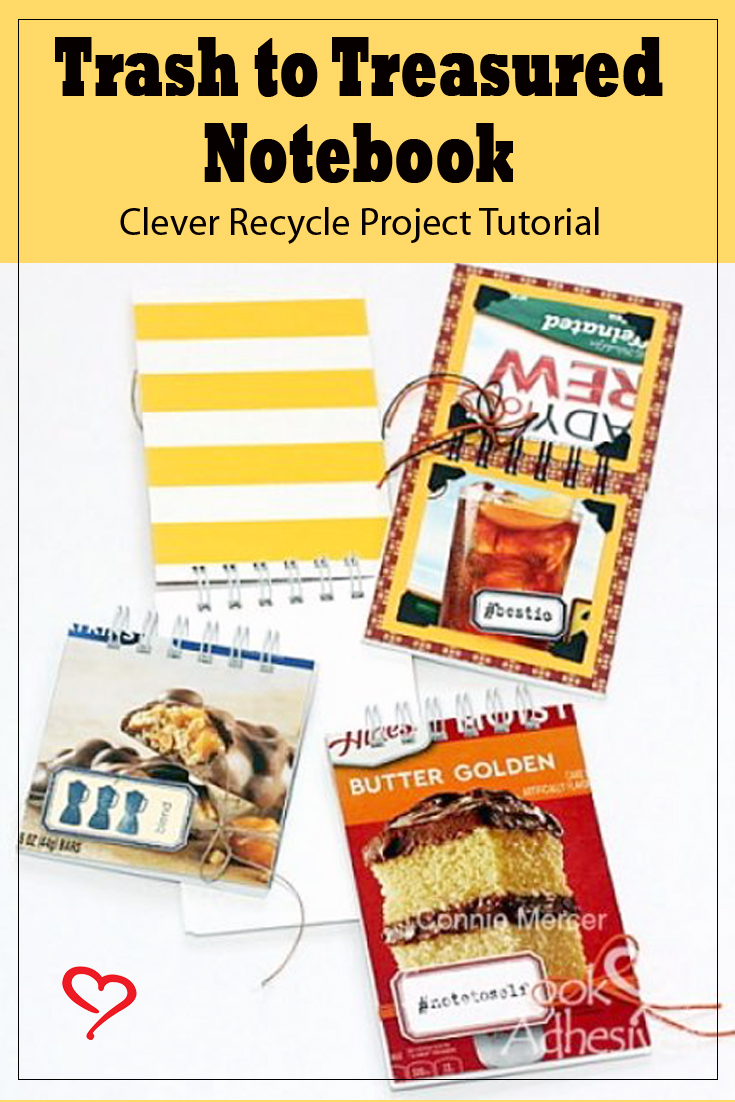 Trash to Treasured Notebook by Connie Mercer for Scrapbook Adhesives by 3L Pinterest