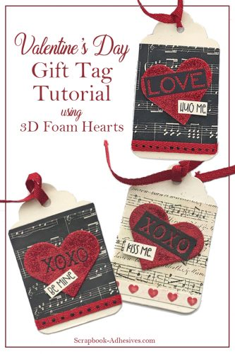 Valentine's Day Heart Tags Tutorial by Judy Hayes for Scrapbook Adhesives by 3L