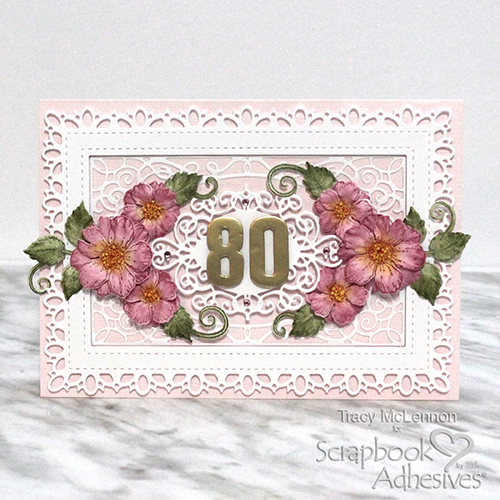 Intricate 80th Birthday Card Tutorial by Tracy McLennon for Scrapbook Adhesives by 3L
